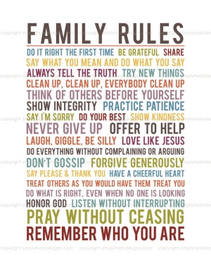 Family Rules Subway Art Instant Download by simplyfreshdesigns by Ado