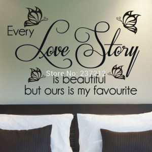 LOVE QUOTE , Beautiful , Butterfly,Story, Love, Quote Wall Sticker ...