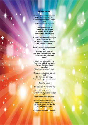 ! Its such a beautiful poem for anyone especially those with Autism ...