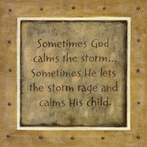 sometimes he lets the storm rage and calms his child