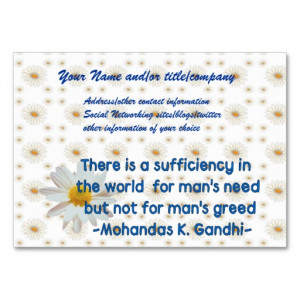 Gandhi Earth Quote Business Card Template from Zazzle.com