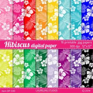 Hibiscus digital paper for crafts, scrapbooking, Luau decorations ...