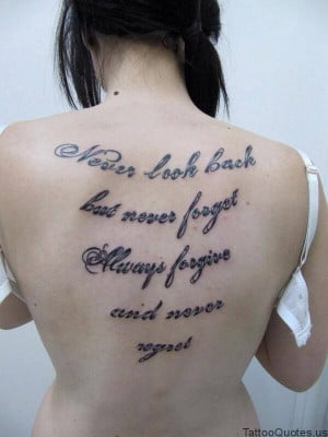 never look back short tattoo quotes tattooquotes never look back but ...