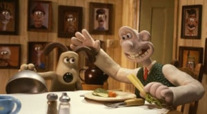 Wallace and Gromit at the dinner table