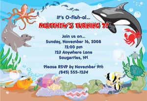 fish ocean sea birthday party invitations fish ocean sea birthday ...