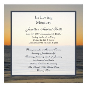 Memorial Service Announcement Invitation from Zazzle.com