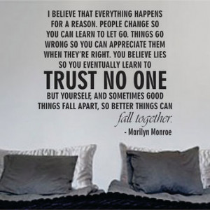 Marilyn Monroe Trust No One Quote Decal Sticker Wall Art Words