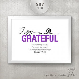AM GRATEFUL 5x7 Inspirational Quote Print / Appreciation Gift for ...