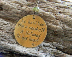 hand stamped quote necklace, seashell