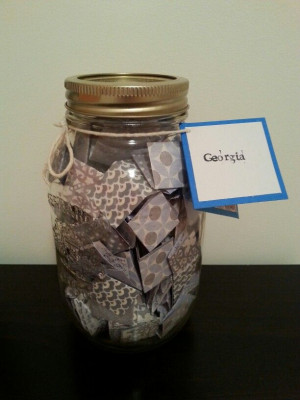 large mason jar filled with 365 messages, quotes and more! With ...
