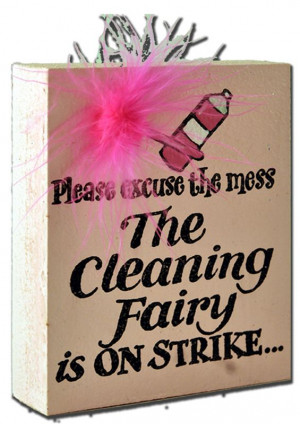 sign, with lettering: 'Please excuse the mess - The cleaning fairy ...