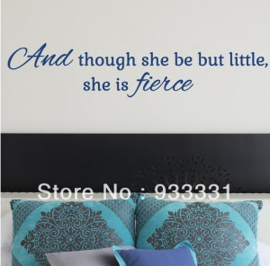 ... lot SHAKESPEARE QUOTE, LARGE WALL STICKER, She, Fierce, Decal, WallArt
