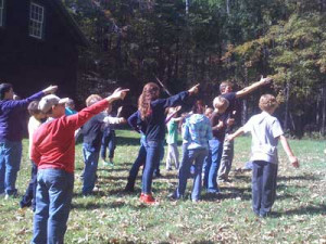 5th & 6th grade students studying azimuth and altitude