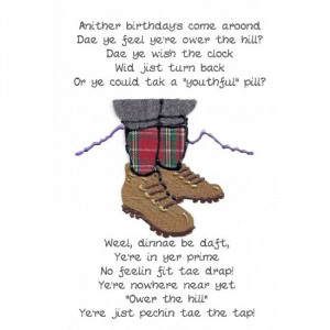 Scottish keepsake birthday card' Ower the hill'