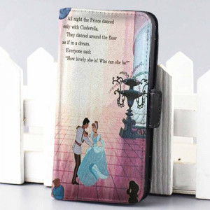 Home wallet case cinderella dancing quote disney wallet case for ...