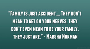 Family is just accident…. They don't mean to get on your nerves ...