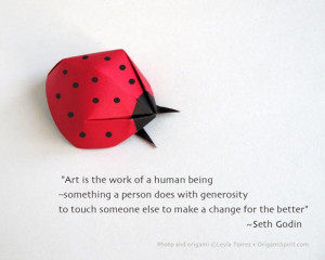 Picture of an origami ladybug with a quote: