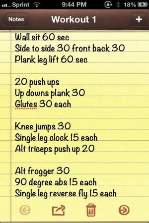 Interval workout - 60 sec between each set