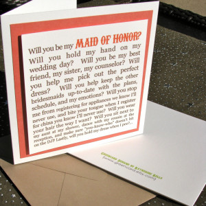 Will You Be My Maid of Honor Card- greencard