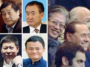 Da sinistra in alto, in senso orario: Zong Qinghou, Wang Jianlin, Jack ...