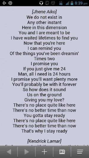Jhene aiko-stay ready lyrics