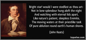 Bright star! would I were stedfast as thou art- Not in lone splendour ...