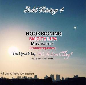 SM City Lipa, Batangas! See you tomorrow for Gold Rising 4 (book ...