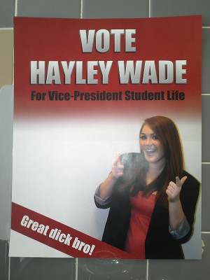 ... Vice President Student Life. This is her men's room campaign poster