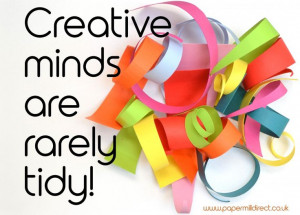 Paper curls with creative minds quote