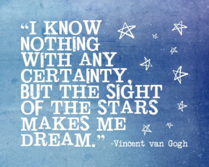 quote print inspiration Vincent van Gogh stars by SparksOfLife, $22.00