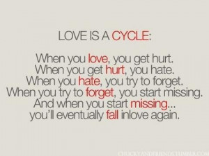 When you love, you get hurt.When you get hurt, you hate.When you hate ...