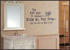 ... YOUR TEETH FUNNY WALL STICKER bathroom Quote Wall Decal Wall Art 046