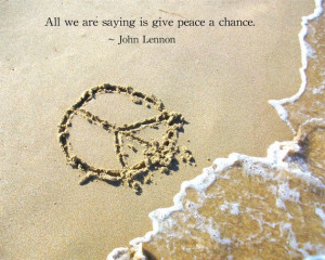 Beach Peace sign and John Lennon Peace Quote Print by InnerSasa, $12 ...