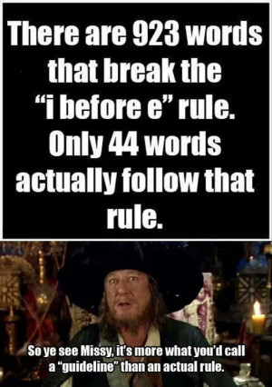 There are 923 words that break the I before E rule…