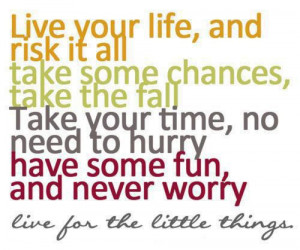 Live your life and risk it all. Take some chances, take the fall. Take ...