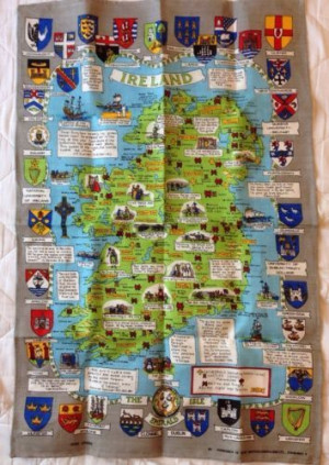 Irish Linen Tea Towel Ireland Map Quotes Clans Castles Cathedrals ...