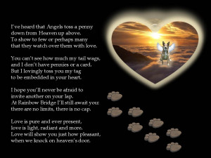 Missing Someone In Heaven Poems A tag from heaven - dog poem