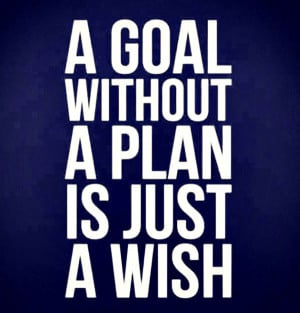 """Planning Quote 1: """"A goal without a plan is just a wish"""""""