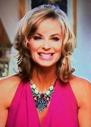 Eileen Davidson s Interview Statement Necklace with her Pink Dress