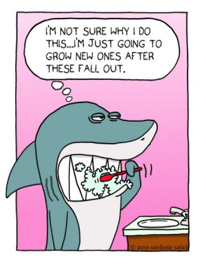 Sardonic Salad: Shark Brushing Teeth