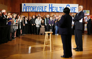 Obama smiles as he is introduced to speak about Affordable Health Care ...