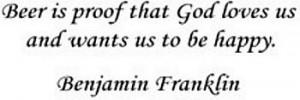 Benjamin Franklin famous beer quote