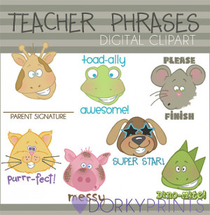 Teacher Phrases Digital Clip Art - Personal and Commercial Use- Cute ...