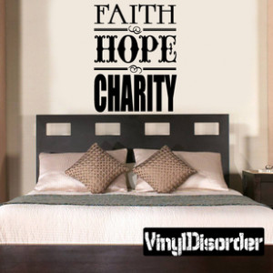 Faith Hope Charity Religious Quote Wall Decal - Vinyl Decal - Car ...