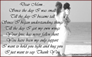 Beautiful thank you message for mom
