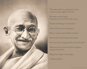 Mahatma Gandhi Motivational wallpaper with famous quotes