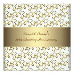 Gold Swirls Gold 50th Wedding Anniversary Party
