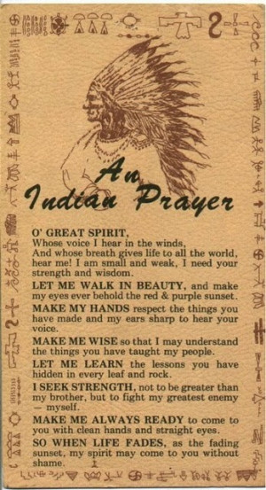Native American prayer by Sacagawea