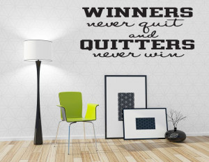 Winners Never Quit Sports Vinyl Wall Quote Decal Sticker Art ...