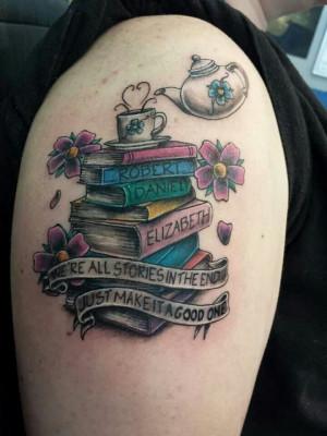 Books tattoo. Tea tattoo. Kid's names tattoo. Doctor Who quote tattoo ...